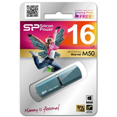 ФЛЭШ-КАРТА SILICON POWER 16GB M50 BLUE MARVEL METALL USB 3.0