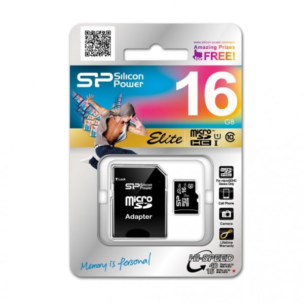 SILICON POWER 16GB MICRO SDHC CLASS 10 ELITE COLORED+SD АДАП